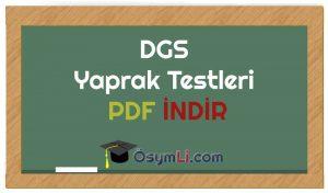 DGS Yaprak Testleri PDF İNDİR
