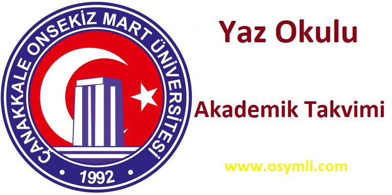 Çanakkale-Onsekiz-Mart-Üniversitesi-yaz-okulu-akademik-takvimi